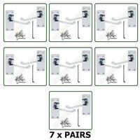 7 x Pairs of Door Handles Victorian - Lever Latch Scroll - Chrome Finish