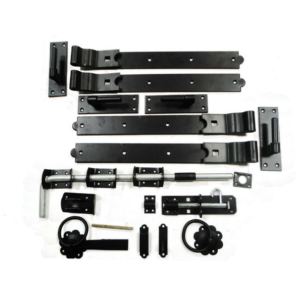 Gate Hinge - Double Gate Kit - Galv / Black 18"