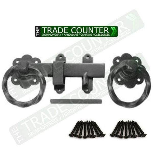 "6"" Twisted Ring Gate Latch Set 