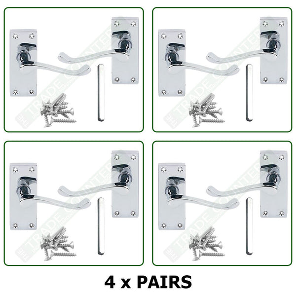 Internal Door Handles 4 x Pairs - Lever Latch Scroll SET - Quality Chrome Finish