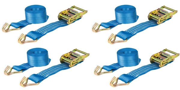 Ratchet Straps x4 Heavy Duty Tie Down Size 3m x 50mm 2000kg Warrior BDV157 BDSL
