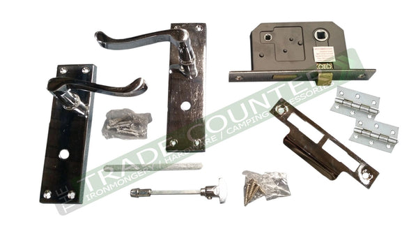 Victorian Scroll Latch Door Handles Chrome Set Pack + Hinges + Privacy Lock
