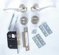 Astrid Style Internal Door Handle PACKS - Latch, Lock Or Bathroom Satin Nickel
