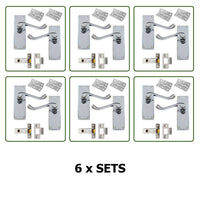 Internal Door Handles x 6 Pairs - Scroll Lever Latch SET in Chrome