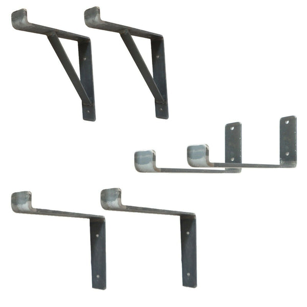 Rustic Scaffold Board Shelf Brackets Heavy Duty Handmade Industrial Steel Metal