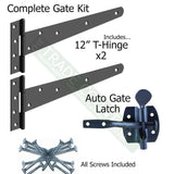 "Single Gate Hanging Fixing Kit -  2 x 12"" T-hinges, 1 x Auto Catch Inc Screws"