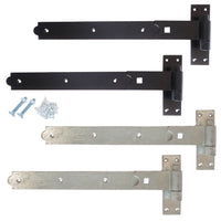 Pair of Gate Hook & Band Hinges - Heavy Duty - Including Fixings - Black / Galv