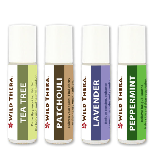 Essential Oil Set Lavender, Tea Tree, Patchouli, Peppermint - for Stress Anxiety Antifungal Antibacterial