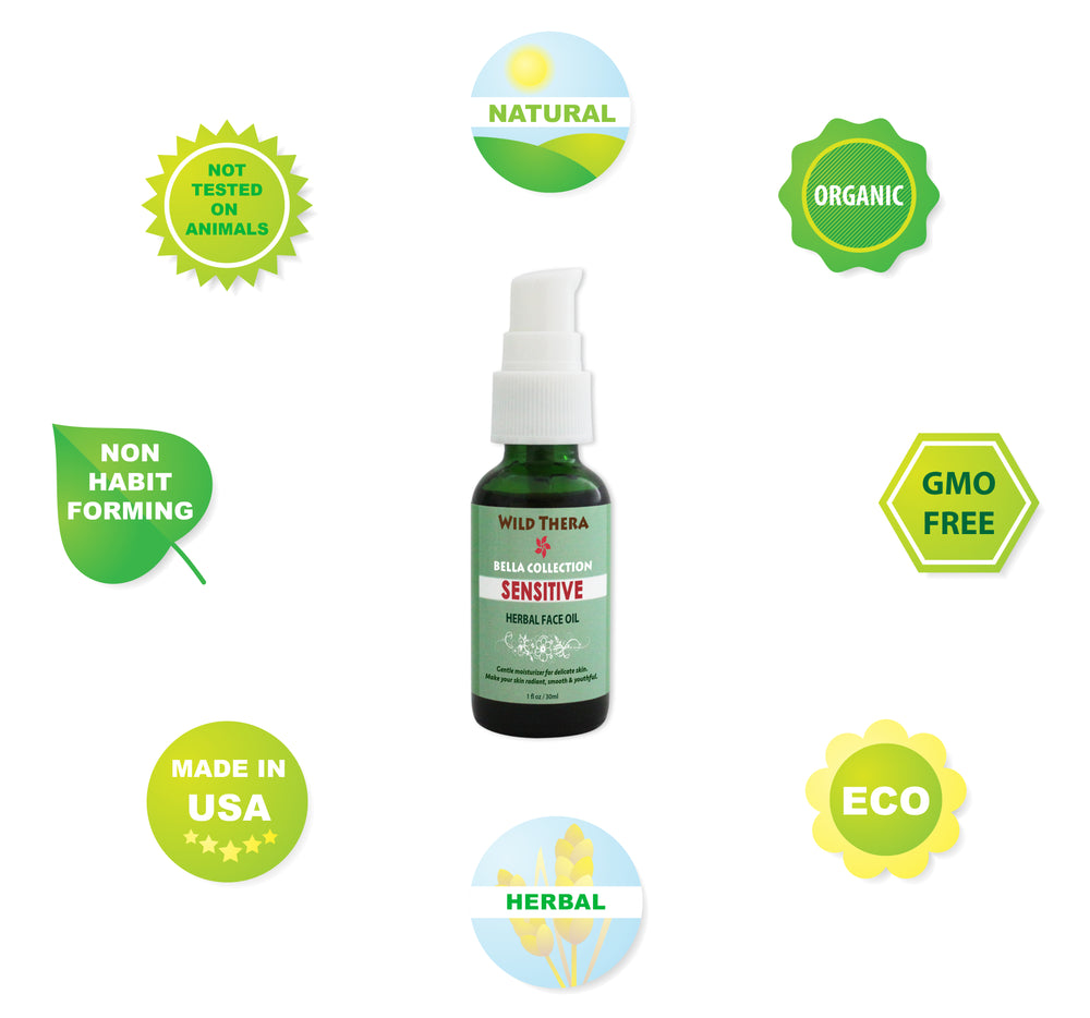 Sensitive Face Oil to moisturize, cleanse and reduce wrinkles, aging and spots