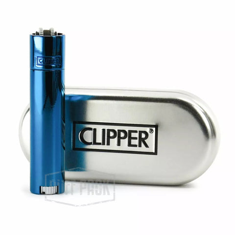 Premium All Metal Icy Blue Clipper Lighter w/ Metal Case