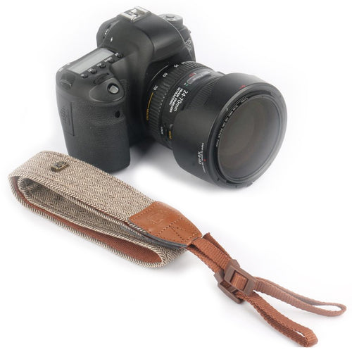 Vintage Cotton Camera Strap Gray/Brown