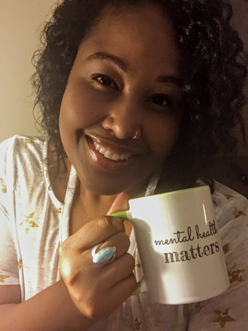 Beth Leigh with her favorite Mental Health Mug