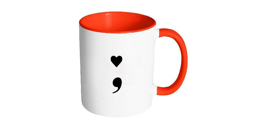 Heart Semicolon Mug, Suicide Prevention, Mental Health Awareness, Depression Anxiety, Recovery Sobriety, Second Chance Mugs, Gift Idea S96