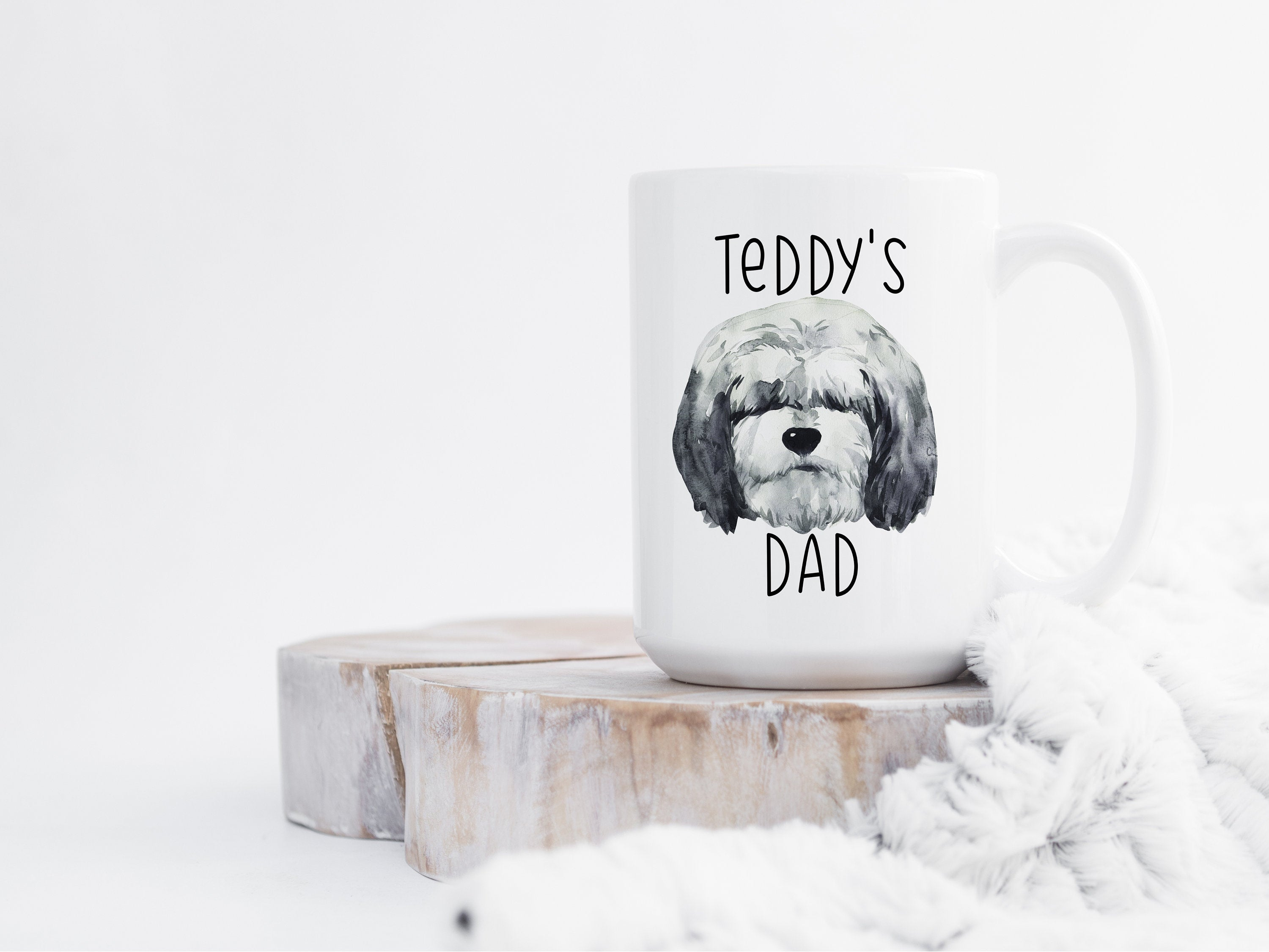 Personalized Dog Dad Gift Old English Sheepdog Mug, Dog Lover Gift, Gifts for Dog Dad, Personalized Dog Coffee Mug Pet Gift for Him S057
