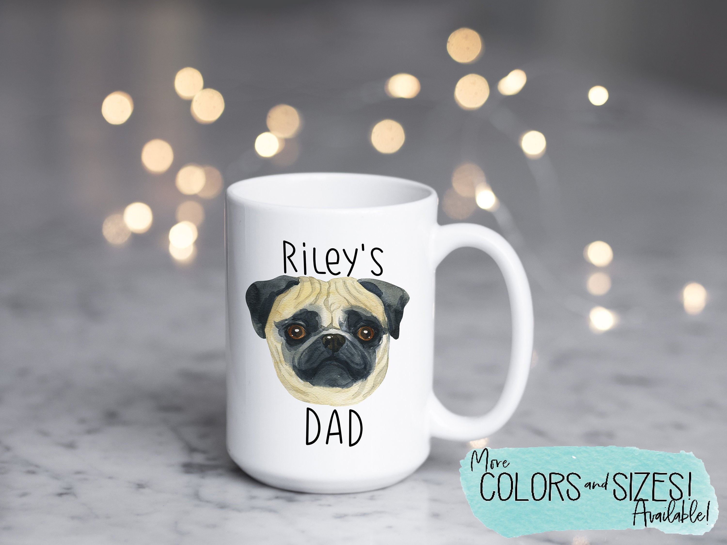 Personalized Dog Dad Gift, Custom Pug Mug, Dog Lover Gift, Gifts for Dog Dad, Personalized Dog Coffee Mug, Cute Pet Gift for Him S065