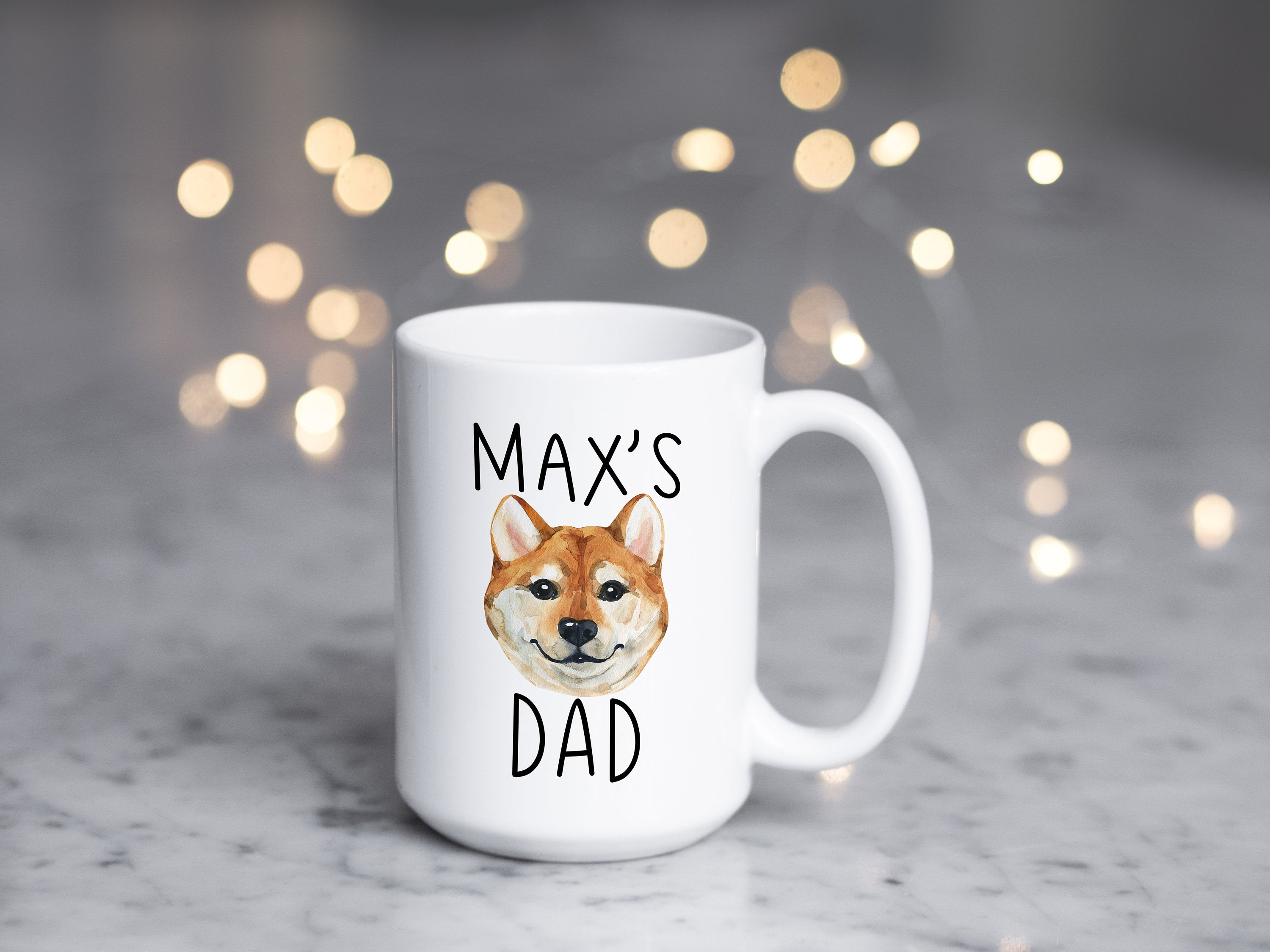 Personalized Dog Dad Gift, Custom  Akita Inu Mug, Dog Lover Gift, Gifts for Dog Dad, Personalized Dog Coffee Mug,  CUTE Pet Gift for Him S32