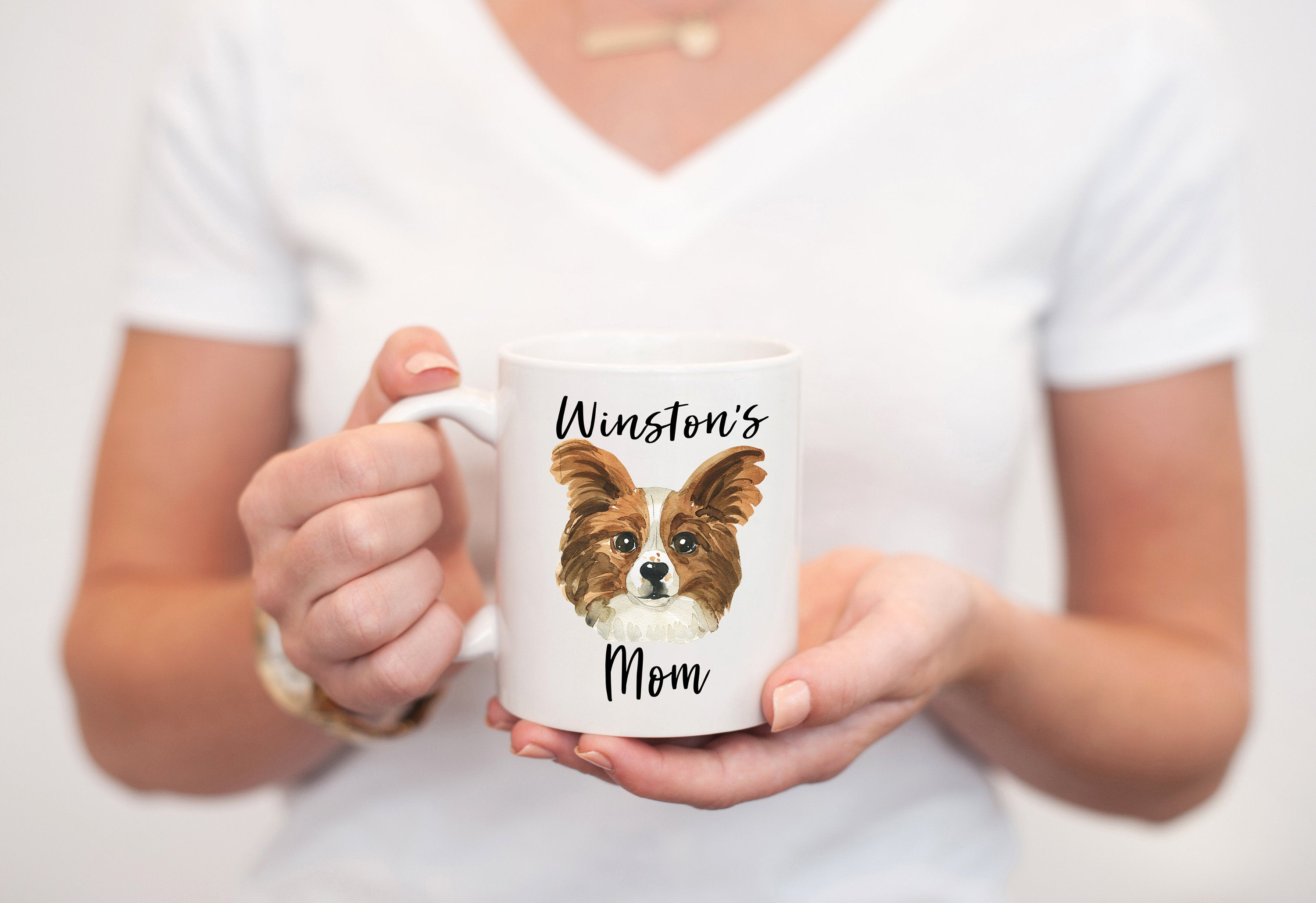 Personalized Dog Mom Gift, Custom Papillon Mug, Dog Lover Gift, Gifts for Dog Mom, Personalized Dog Coffee Mug, Cute Pet Gift for Her S058