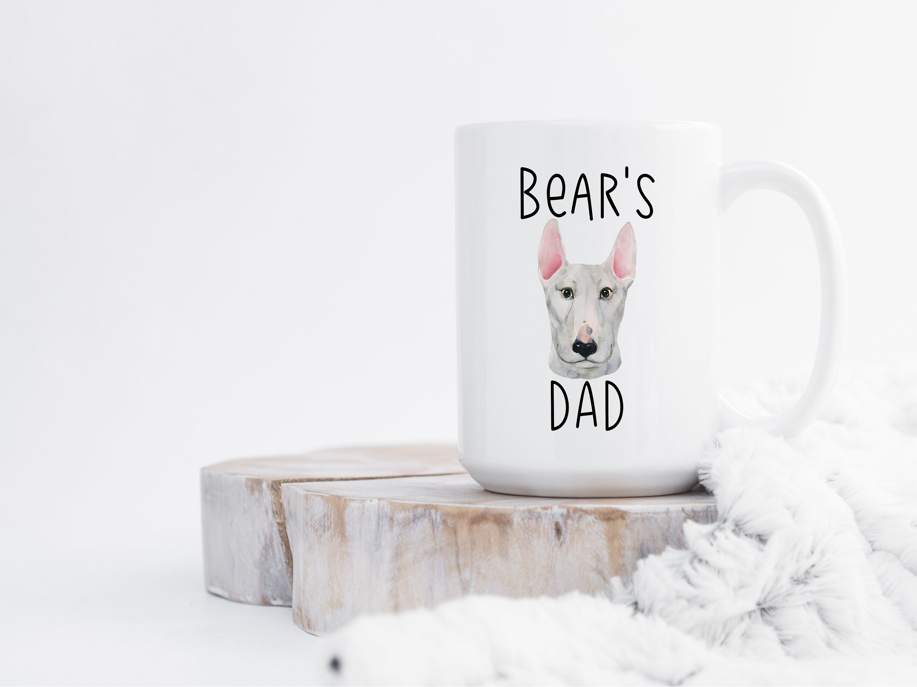 Personalized Dog Dad Gift, Custom Bull Terrier Mug, Dog Lover Gift, Gifts for Dog Dad, Personalized Dog Coffee Mug,  Pet Gift for Him S40