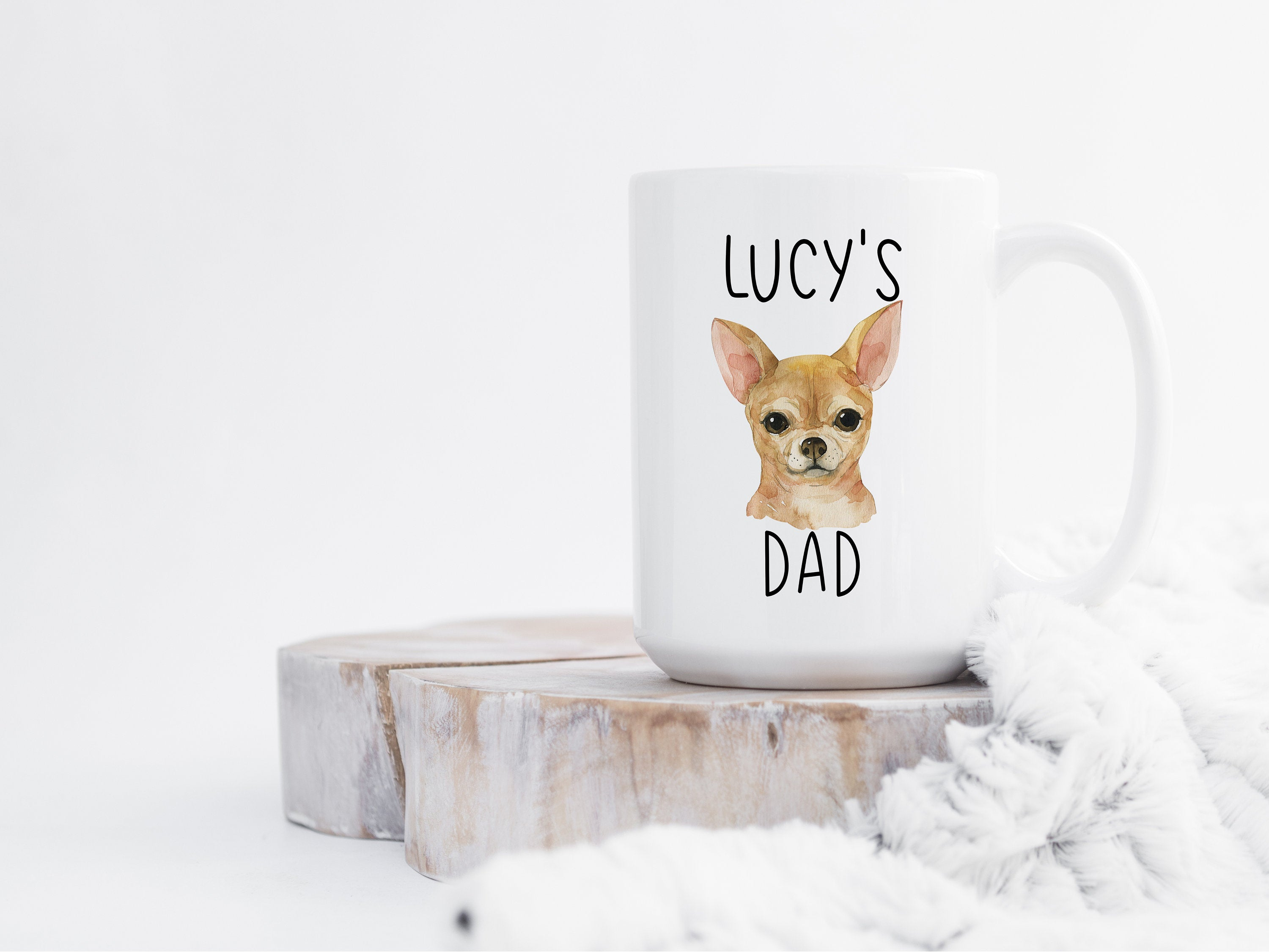 Personalized Dog Dad Gift, Custom Chihuahua Mug, Dog Lover Gift, Gifts for Dog Dad, Personalized Dog Coffee Mug, Cute Pet Gift for Him S42