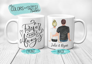 Anniversary Gifts for Boyfriend Forever and Always Custom Couples Mug Coffee Mug Customizable Husband Mug Wife Gift Ceramic Mug S0149