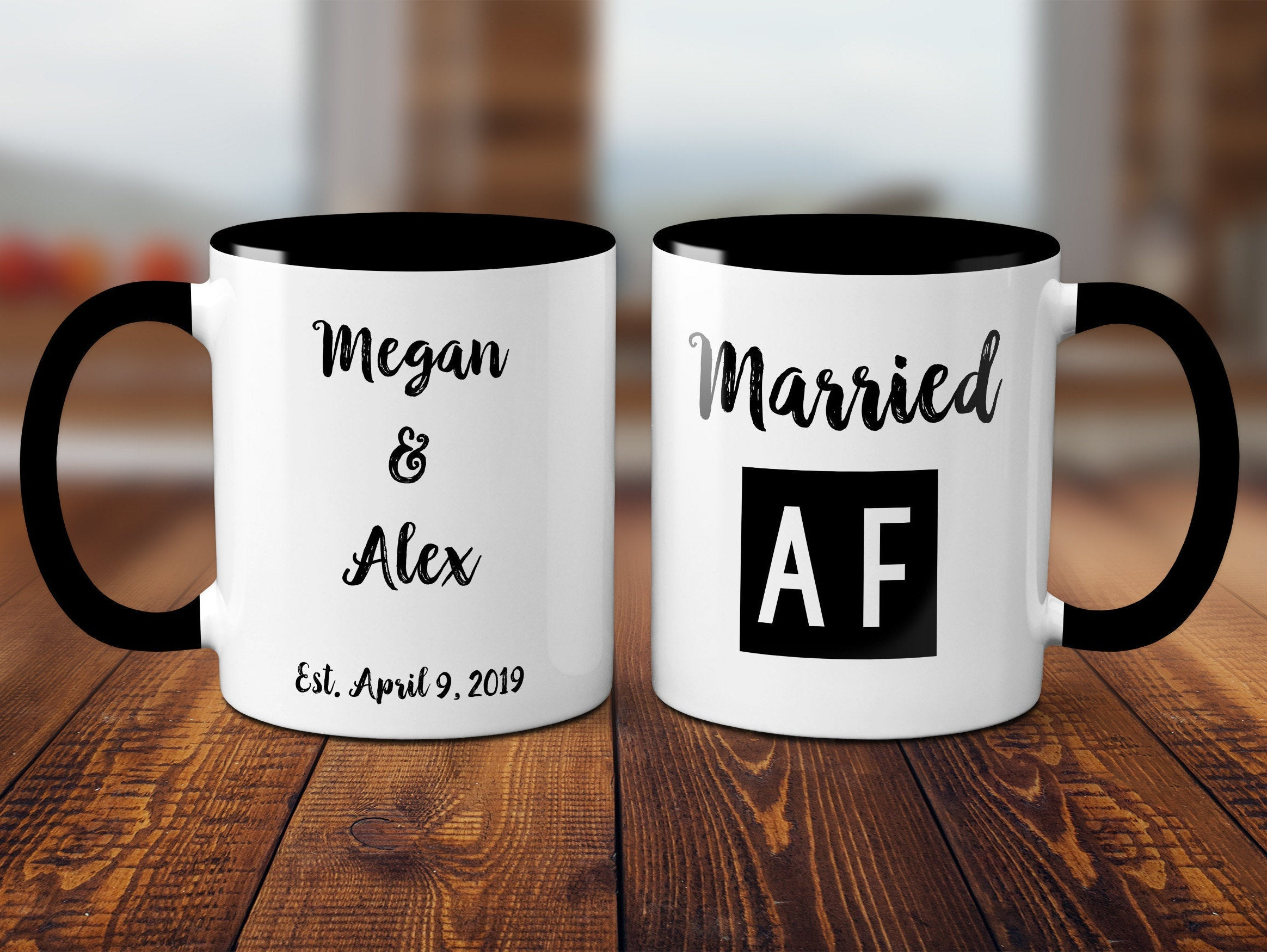 Married AF Wedding Gift Customized His and Hers Personalized Gift Customizable Gift For Bride and Groom Ceramic Mug Set Gift Set S1096