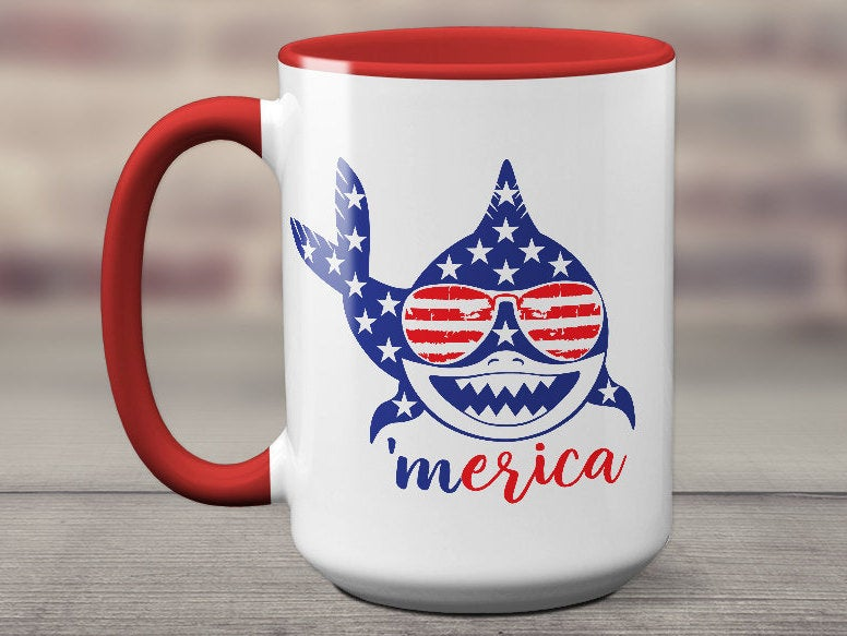Merica Shark Fourth of July Gift Mug 4th of July Women Coffee Mug Independence Day USA Day Sharks America Sunglasses Gift Idea S1088