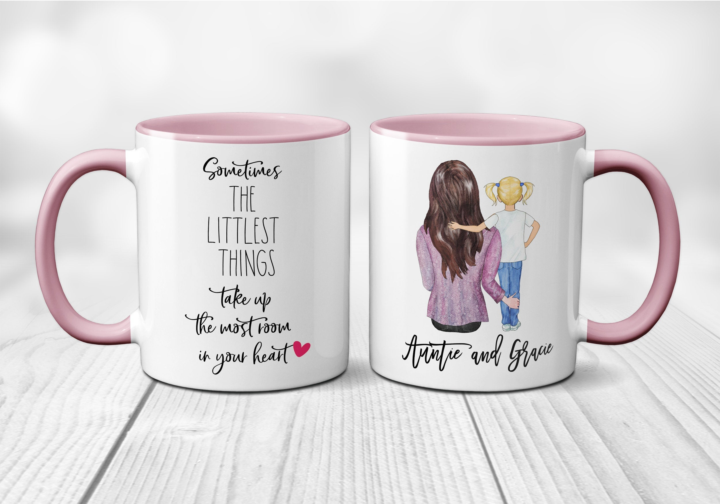 Aunt Gift Auntie Gift Custom Gift Custom Picture Coffee Mug Sometimes the Littlest Things Take up the Most Room in Your Heart S1094