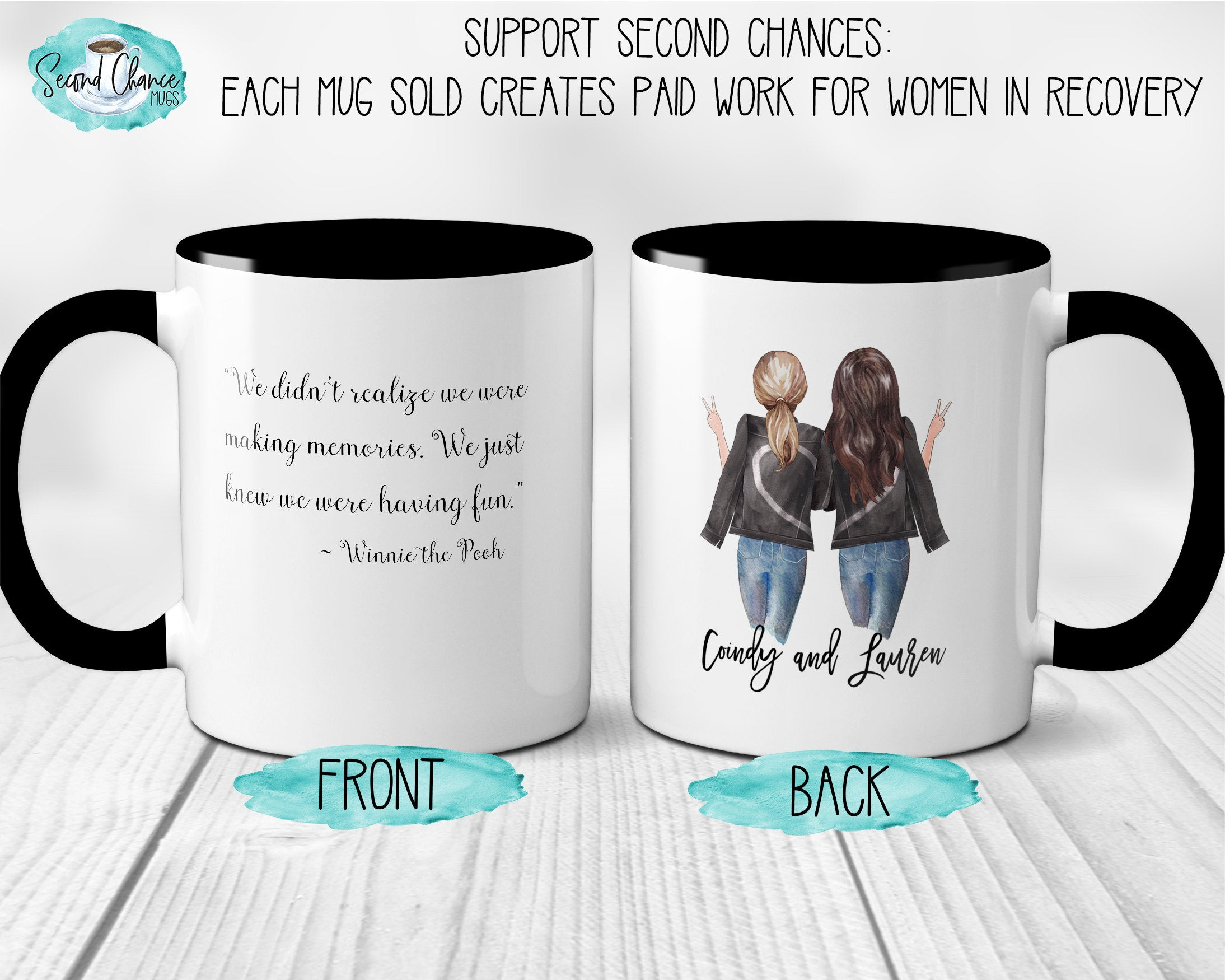 Best Friends Personalized Gift For Best Friend Custom Coffee Mug Making Memories Having Fun Pooh Quotes Gift For College graduate  S1228