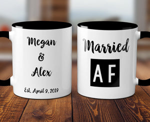FREE SHIPPING Married AF Wedding Gift Customized His and Hers Personalized Gift Customizable Gift For Bride and Groom Ceramic Mug S1096