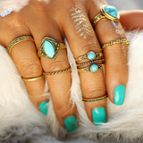 Turquoise Gold Ring Set