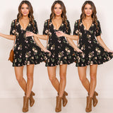 Floral V Mini Beach Dress