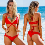 Crochet Push Up Solid Bikini