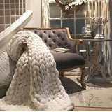 "Chunky Knit Sheep Wool Blankets ""Ultra Plush Decorative Throw Blanket"""