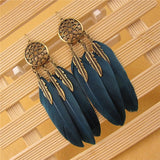 Copper Drop Feather Earrings