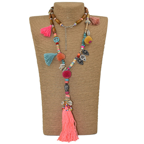 Pom Pom Long Tassel Pendants Necklace