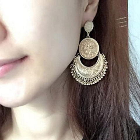 Flower Carved Tassel Earrings