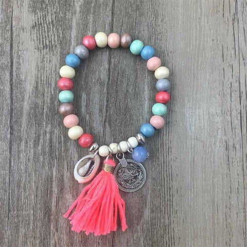 Beach Wood Tassel Bracelet