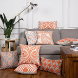 Boho Vintage Orange Throw Pillow Shams