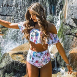 Tropical High Waist Ruffle Bikinis