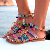 Braided Pom Pom Sandals
