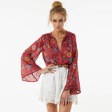 Tammy O-Neck Flare Sleeve Blouses