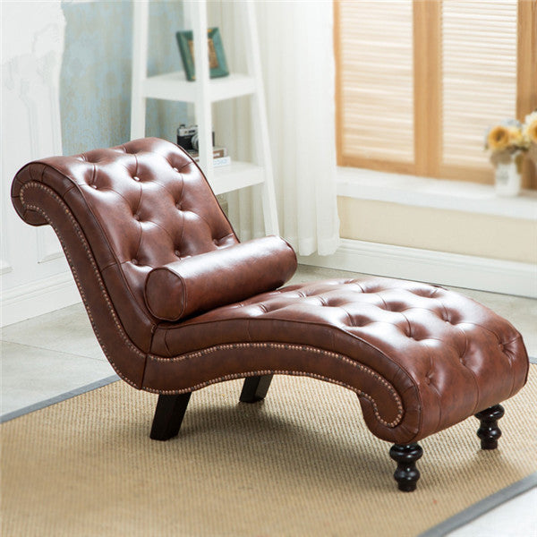 Classic Leather Chaise Lounge Sofa With Pillow