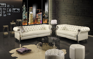 6PCS Chesterfield Leather Sofa Set w/Tables