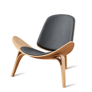 Hans Wegner Style  Shell Chair Plywood Black Faux Leather
