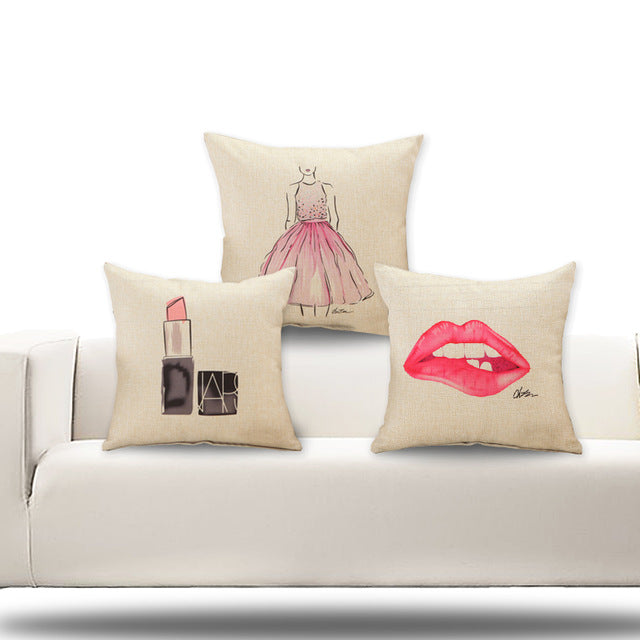 Lipstick Decorative Pillow Covers