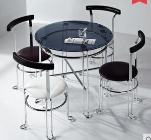 Steel glass small round table with 4 chairs