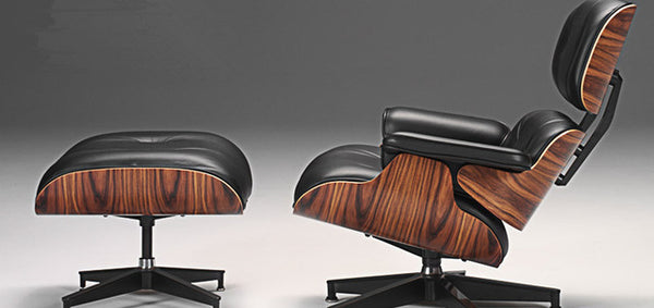 Mid Century Modern Premium Leather Chaise Lounge Chair&Ottoman
