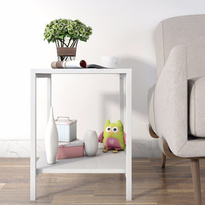 Lifewit 2-tier Modern Square Side Table White