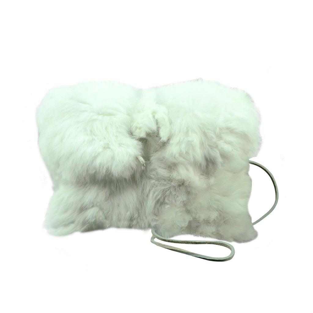 High Fashion Genuine White Rabbit Fur Evening Purse/Bag