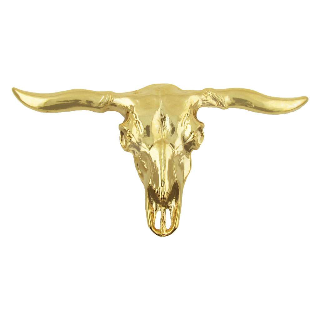 Brass Longhorn Skull Belt Buckle
